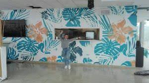 Rotulación a mano - Mural de flores