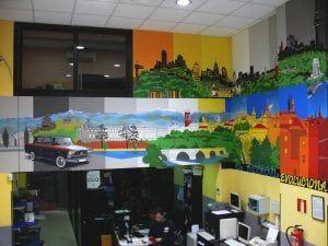 Rotulación a mano en Madrid - Mural – Decoración de Interior: Tienda de recambios