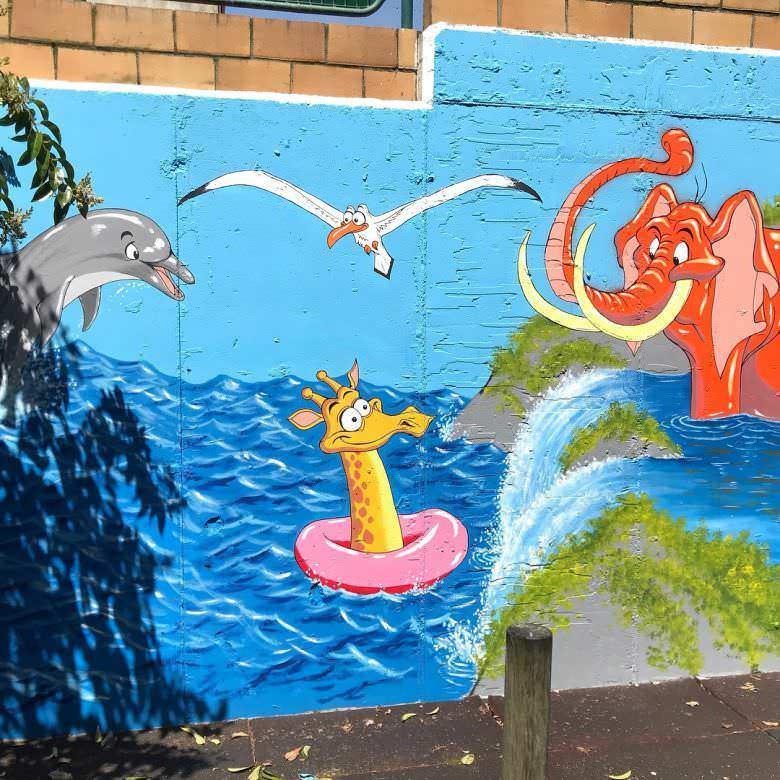 Mural en colegio Cluny (Vigo)