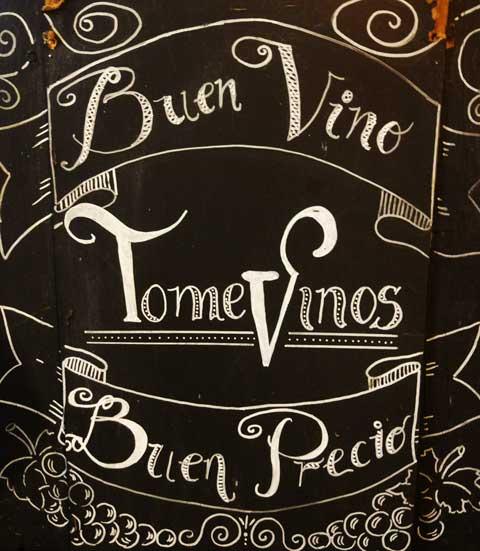 pizarra para tienda de vinos