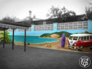 Graffiti profesional - Graffiti playa y furgoneta hippie