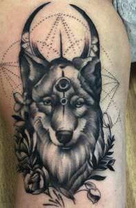 Tattoos Puntillismo - Tatuaje husky siberiano