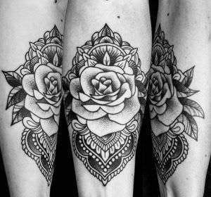 Tatuajes Mandalas - Tatuaje neotradicional de rosa