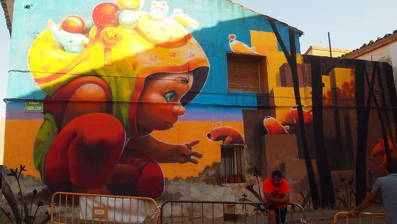 Mural en Alfamén de Animalitoland
