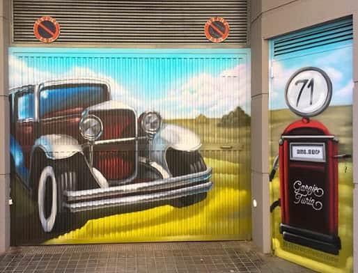 Graffiti en garaje Turia