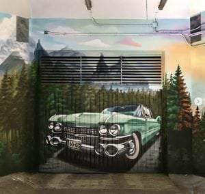 Rotulación a mano - Mural en garaje (Valencia)