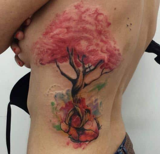 Tatuaje water color árbol