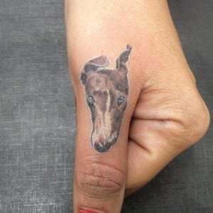 Tatuajes en los dedos - Tatuaje de Galgo en el dedo