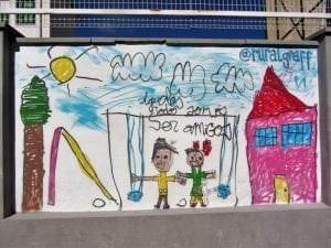 Graffitis - Graffiti mural dibujo infantil