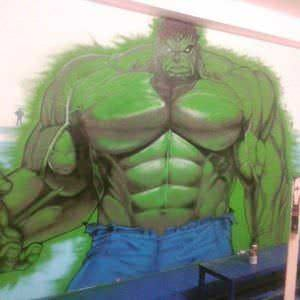 Graffiti de comics - gimnasio pabellon de telde y decoracion de cenefa