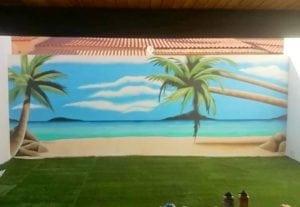 Graffiti Comercial en Las Palmas de Gran Canaria - Mural con Paisaje de playa en la terraza