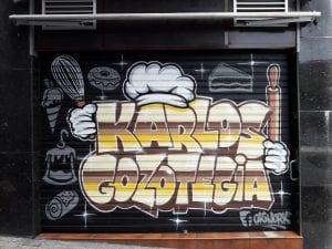 Graffiti y Rotulación en restaurantes - Persiana metálica Bilbao