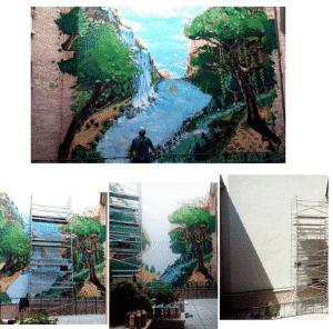 Graffiti comercial en Móstoles - Graffiti en muro de 100 metros cuadrados