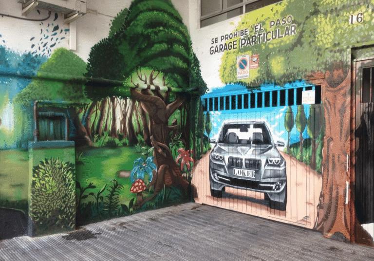 Decoración de garaje con graffiti