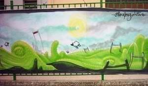 Graffiti infantil - Mural con paisaje