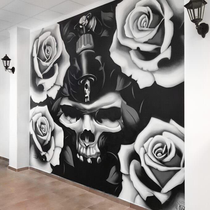 Mural realista: Skull & Roses