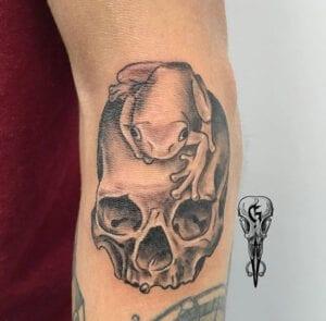Tattoos de Calaveras - Tattoo calavera con la rana de la universidad de Salamanca