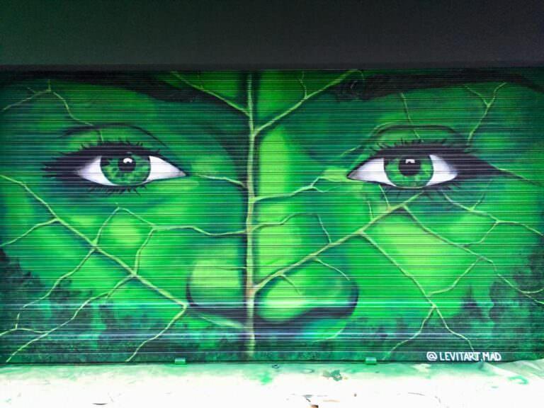 Mural en persiana metálica: Bioface