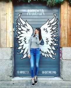 Graffiti mural - Mural Alas de ángel para tienda Apodemia