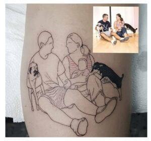 Tatuajes Line Art (arte de línea) - Tatuaje familia en linea fina