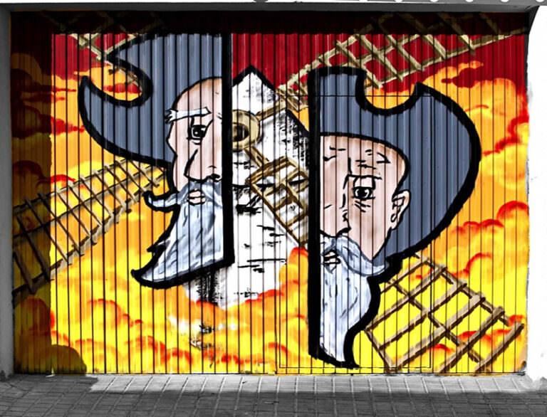 Graffiti de un Quijote y el molino