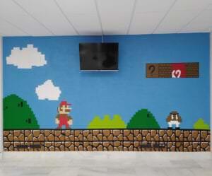 Graffitis - Decoración con mural de Mario Bros