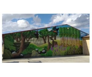 Graffiti mural - Mural: Decoración nave con graffiti en Miedes (Zaragoza)