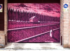 Graffiti comercial en Pamplona - Muralismo – Puerta de Garaje en Pamplona