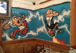 Graffiti comercial en Pamplona - Mortadelo y Filemón – Decoración de bar