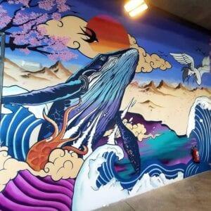 Graffiti y Rotulación en restaurantes - Mural decorativo Restaurante Sushi en Palma de Mallorca
