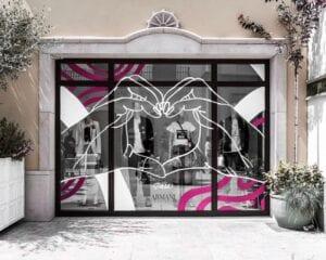 Graffiti y Rotulación en restaurantes - Rotulación a mano del escaparate Armani en Barcelona
