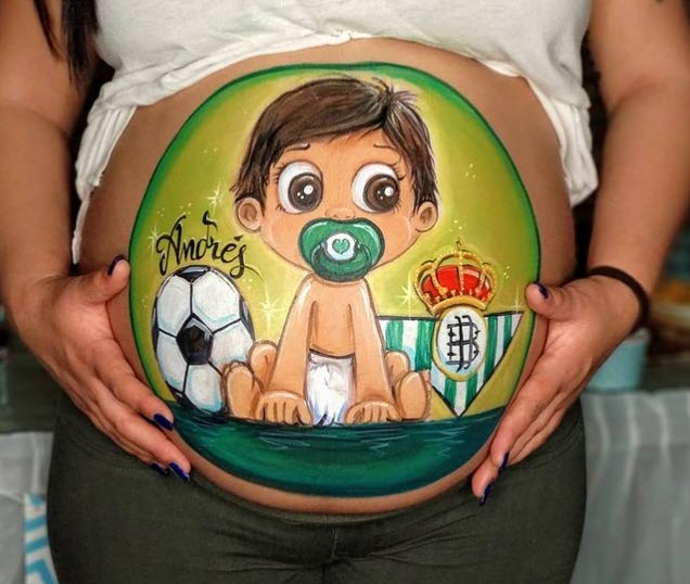 Barriguita pintada bebe del Betis