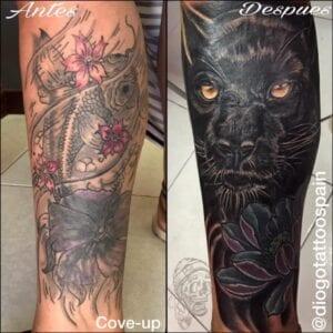 Estudios de Tatuajes en Alicante - Cover up de un tatuaje para hacer encima una pantera