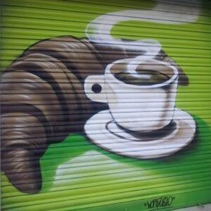 Graffitis - Decoración persiana para cafeteria