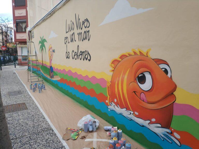Graffiti decorativo en Colegio Luis Vives de Zaragoza