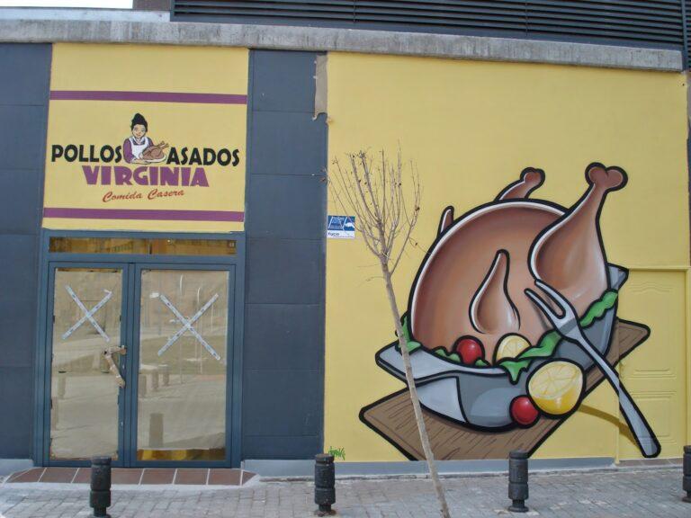 Graffiti decorativo para asador de pollos