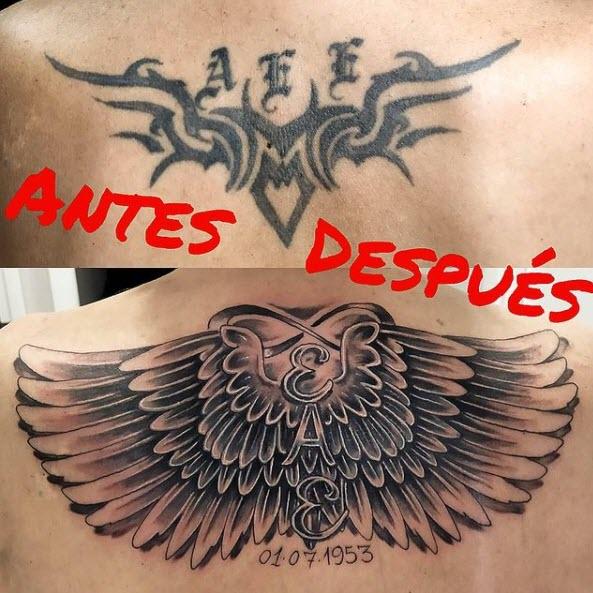 Tattoo cover. Alas en la espalda