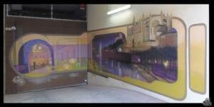 Graffitis - Mural entrada de garaje en el casco antiguo de Palma de Mallorca