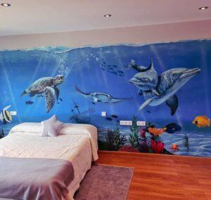 Graffiti infantil - Mural habitación infantil del fondo marino
