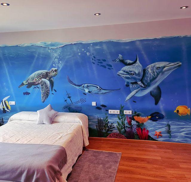 Mural habitación infantil del fondo marino